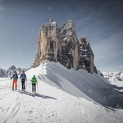 Snow shoe hiking Three Peaks Dolomites